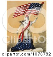 Woman Portrayed As Lady Liberty Holding A Sword And American Flag