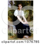 Young Woman Sitting On A Stone Slab The Song Of The Nightingale By William Adolphe Bouguereau Royalty Free Historical Clip Art by JVPD