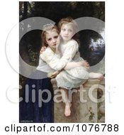 Two Sisters Hugging On A Stone Wall By William Adolphe Bouguereau Royalty Free Historical Clip Art by JVPD