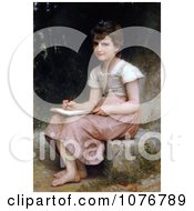 Little Girl Writing In A Journal A Calling By William Adolphe Bouguereau Royalty Free Historical Clip Art by JVPD