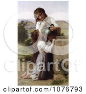 Girl Helping Her Sister Drink Water From A Jar At The Fountain By William Adolphe Bouguereau Royalty Free Historical Clip Art by JVPD