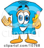 Blue Short Sleeved T Shirt Mascot Cartoon Character Holding A Pencil