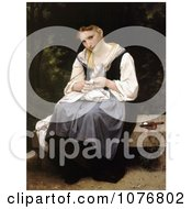 Woman Sewing While Sitting On A Bench Young Worker By William Adolphe Bouguereau Royalty Free Historical Clip Art by JVPD