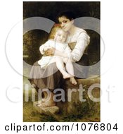 Girl Holding Her Little Sister Big Sis By William Adolphe Bouguereau Royalty Free Historical Clip Art by JVPD