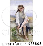 Little Girl Taking Her Socks Off Before The Bath By William Adolphe Bouguereau Royalty Free Historical Clip Art by JVPD
