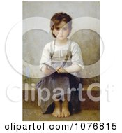Little Girl With An Open Book The Difficult Lesson By William Adolphe Bouguereau Royalty Free Historical Clip Art by JVPD