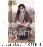 Girl With A Violin The Bohemian By William Adolphe Bouguereau Royalty Free Historical Clip Art by JVPD