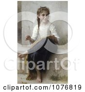 Little Girl Sewing By William Adolphe Bouguereau Royalty Free Historical Clip Art by JVPD