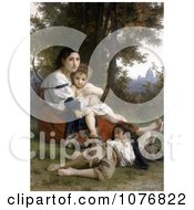 Woman And Her Two Children Resting By Trees Rest By William Adolphe Bouguereau Royalty Free Historical Clip Art by JVPD