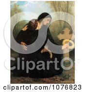 Two Women One A Widow Crouching At A Grave The Day Of The Dead By William Adolphe Bouguereau Royalty Free Historical Clip Art