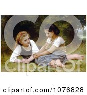 Two Girls Sitting In Grass The Nut Gatherers By William Adolphe Bouguereau Royalty Free Historical Clip Art by JVPD