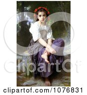 Little Girl With Flowers In Her Hair Seated By A Stream At The Edge Of The Brook By William Adolphe Bouguereau Royalty Free Historical Clip Art