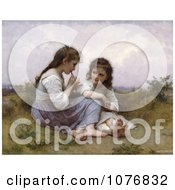 Two Little Girls Playing An Instrument A Childhood Idyll By William Adolphe Bouguereau Royalty Free Historical Clip Art by JVPD