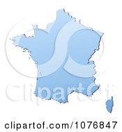 Gradient Blue France Mercator Projection Map by Jiri Moucka