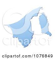 Gradient Blue Brunei Mercator Projection Map by Jiri Moucka