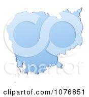 Gradient Blue Cambodia Mercator Projection Map by Jiri Moucka