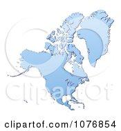 Clipart Gradient Blue North America Mercator Projection Map Royalty Free CGI Illustration by Jiri Moucka