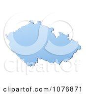 Gradient Blue Czech Republic Mercator Projection Map by Jiri Moucka