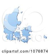Gradient Blue Denmark Mercator Projection Map by Jiri Moucka