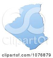 Gradient Blue Algeria Mercator Projection Map by Jiri Moucka