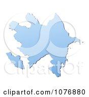 Gradient Blue Azerbaijan Mercator Projection Map by Jiri Moucka