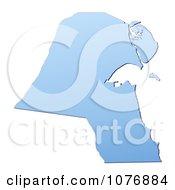 Gradient Blue Kuwait Mercator Projection Map by Jiri Moucka
