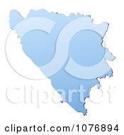 Gradient Blue Bosnia And Herzegovina Mercator Projection Map by Jiri Moucka