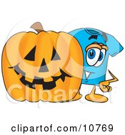Blue Short Sleeved T Shirt Mascot Cartoon Character With A Carved Halloween Pumpkin