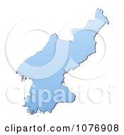 Gradient Blue North Korea Mercator Projection Map by Jiri Moucka