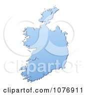 Gradient Blue Ireland Mercator Projection Map by Jiri Moucka