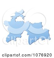 Gradient Blue Tajikistan Mercator Projection Map by Jiri Moucka