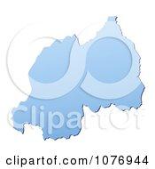 Gradient Blue Rwanda Mercator Projection Map by Jiri Moucka