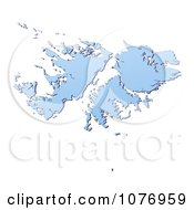 Gradient Blue Falkland Islands Mercator Projection Map by Jiri Moucka