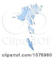 Gradient Blue Faroe Islands Mercator Projection Map by Jiri Moucka