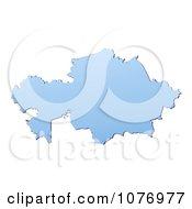 Gradient Blue Kazakhstan Mercator Projection Map by Jiri Moucka