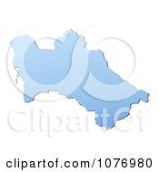 Gradient Blue Turkmenistan Mercator Projection Map by Jiri Moucka