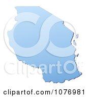 Gradient Blue Tanzania Mercator Projection Map by Jiri Moucka