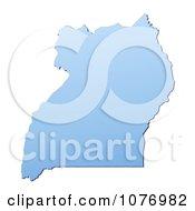 Gradient Blue Uganda Mercator Projection Map by Jiri Moucka