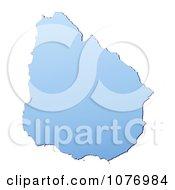 Gradient Blue Uruguay Mercator Projection Map by Jiri Moucka