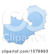 Gradient Blue Zambia Mercator Projection Map by Jiri Moucka