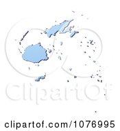 Gradient Blue Fiji Mercator Projection Map by Jiri Moucka