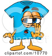 Clipart Picture Of A Blue Short Sleeved T Shirt Mascot Cartoon Character Whispering And Gossiping by Toons4Biz