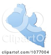 Gradient Blue Liberia Mercator Projection Map by Jiri Moucka