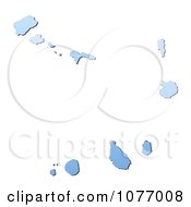 Clipart Gradient Blue Cape Verde Mercator Projection Map Royalty Free CGI Illustration