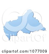 Clipart Gradient Blue Central African Republic Mercator Projection Map Royalty Free CGI Illustration