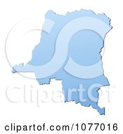 Gradient Blue Democratic Republic Of The Congo Mercator Projection Map by Jiri Moucka