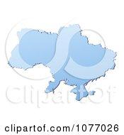 Clipart Gradient Blue Ukraine Mercator Projection Map Royalty Free CGI Illustration