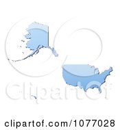 Clipart Gradient Blue United States Mercator Projection Map Royalty Free CGI Illustration
