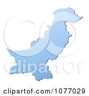 Gradient Blue Pakistan Mercator Projection Map by Jiri Moucka