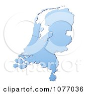 Gradient Blue Netherlands Mercator Projection Map by Jiri Moucka